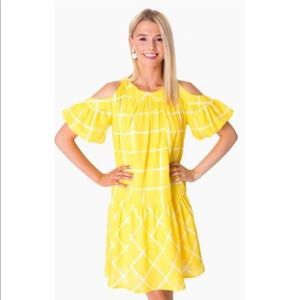 NWT Moon River Gingham Cold Shoulder Dress XS